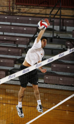 Rambler George Kamberos scores a kill Wednesday. Photo courtesy Loyola Atheltics.