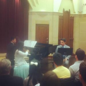 Honors Recital performers, John O'Hara (clarinet), Grace Yu (violin), and Brian Leong (piano). Photo by Anna Buchanan.