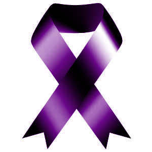The purple ribbon is a symbol of Domestic Violence Awareness Month. Image from Loyola University Chicago.