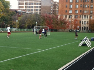 Intramural soccer playoffs continue Saturday and Sunday at Mertz Field. Photo by Sydney Cross.