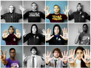 Loyola students took pictures in solidarity with protesters in Ferguson, Missouri, as part of Race-Based Violence Awareness Week. Photo from USGA Justice Committee on Facebook.